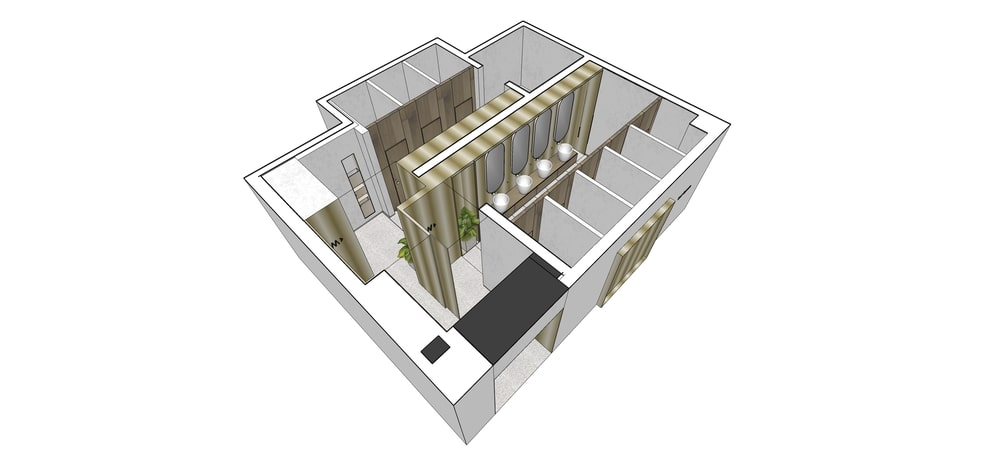 This is a rendering of the floor plan for the male and female comfort rooms.