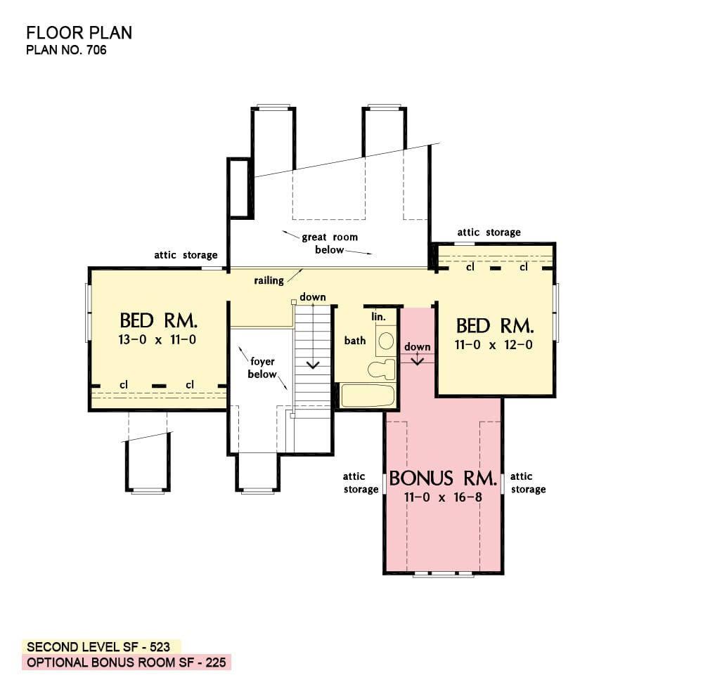 Second level floor plan with two bedrooms and a bonus room sharing a full bath.