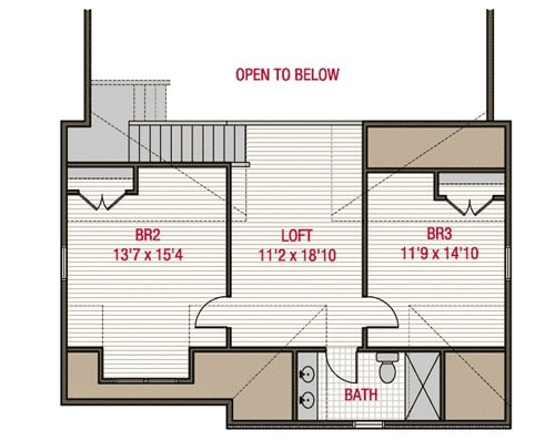 Second level floor plan with two bedrooms, a full bath, and a balcony loft.