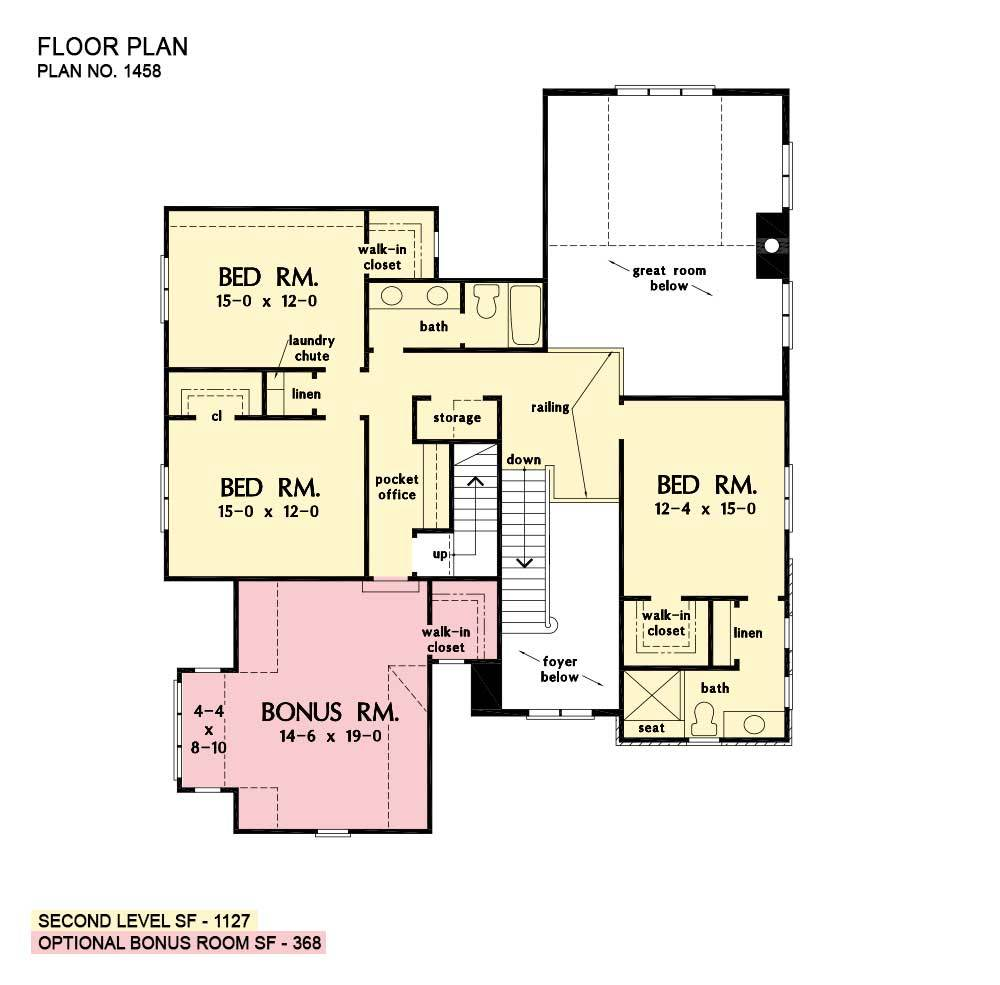 Second level floor plan with three bedrooms, two baths, a pocket office, and a bonus room.