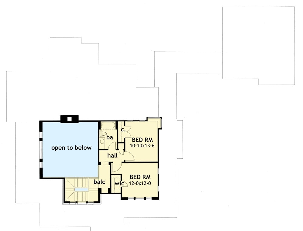 Second level floor plan with two bedrooms sharing a hall bath.