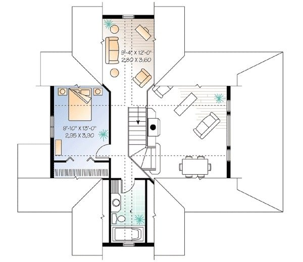 Second level floor plan with a bedroom, a full bath, and a loft.