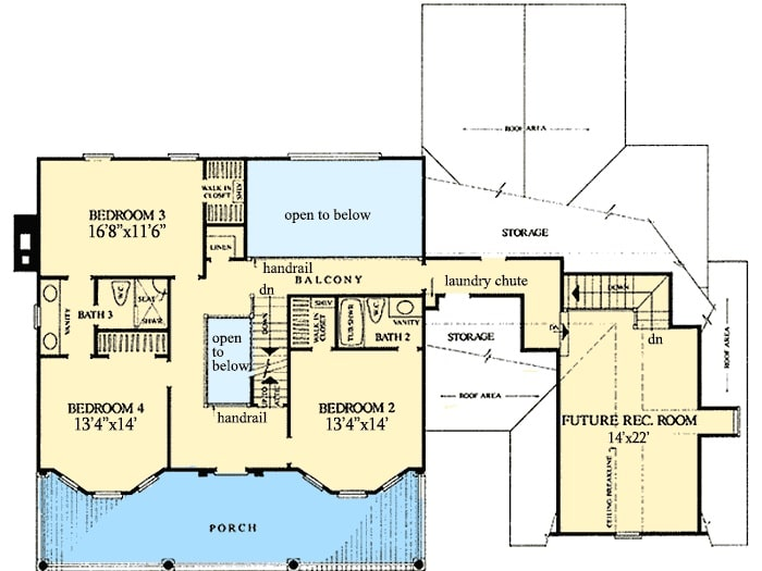 Second level floor plan with three bedrooms, two baths, and a future recreation room situated above the garage.