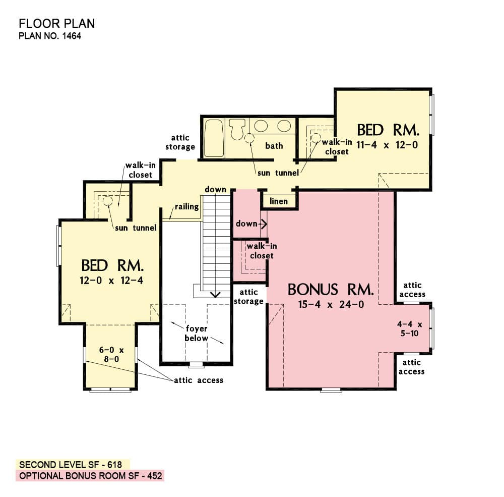 Second level floor plan with a bonus room and two bedrooms sharing a full bath.