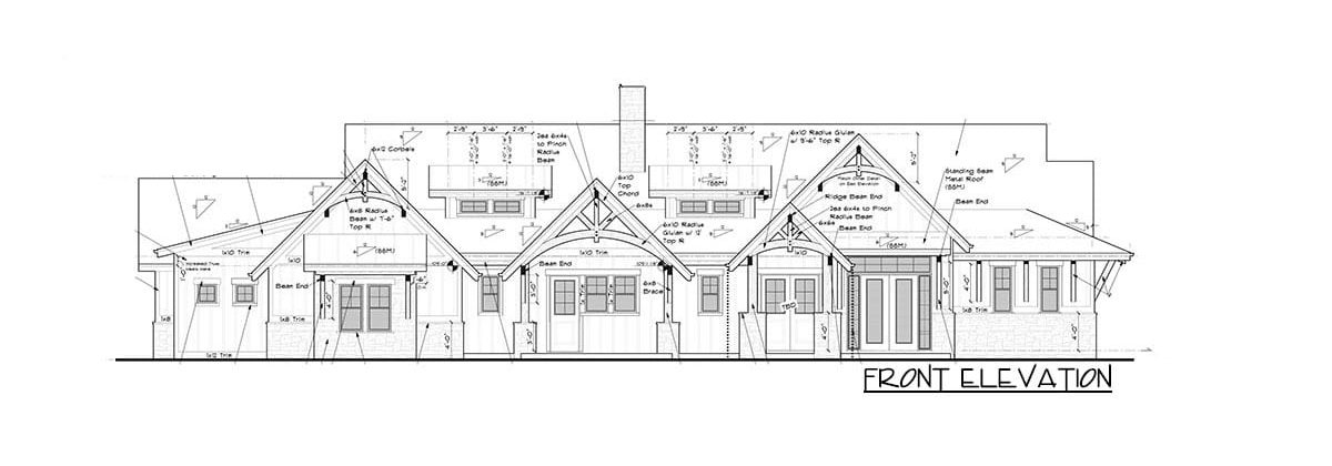 Front elevation sketch of the single-story 2-bedroom mountain craftsman home.