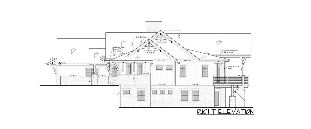 Right elevation sketch of the single-story 2-bedroom mountain craftsman home.