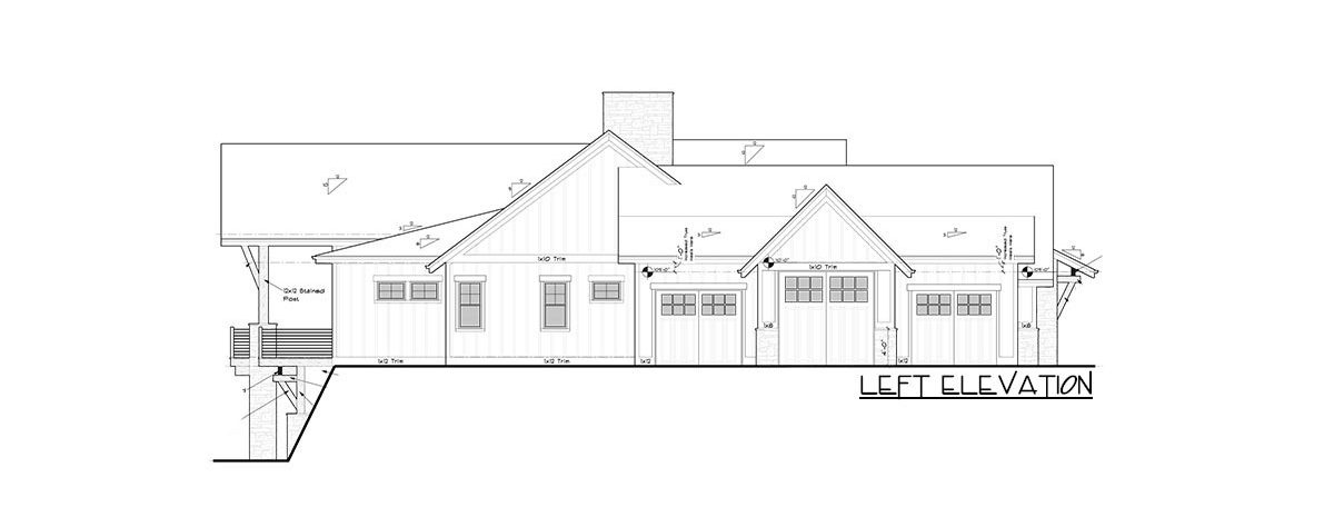 Left elevation sketch of the single-story 2-bedroom mountain craftsman home.
