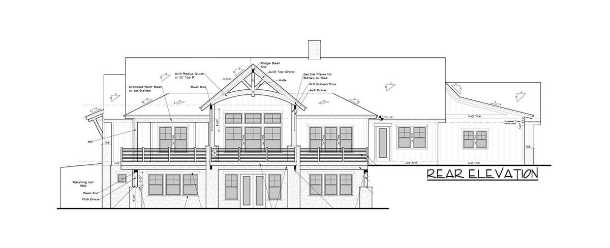 Rear elevation sketch of the single-story 2-bedroom mountain craftsman home.