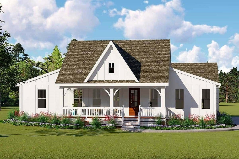 This is a Single-Story 3-Bedroom Farmhouse-style home with Double Garage and a large porch by the entrance.