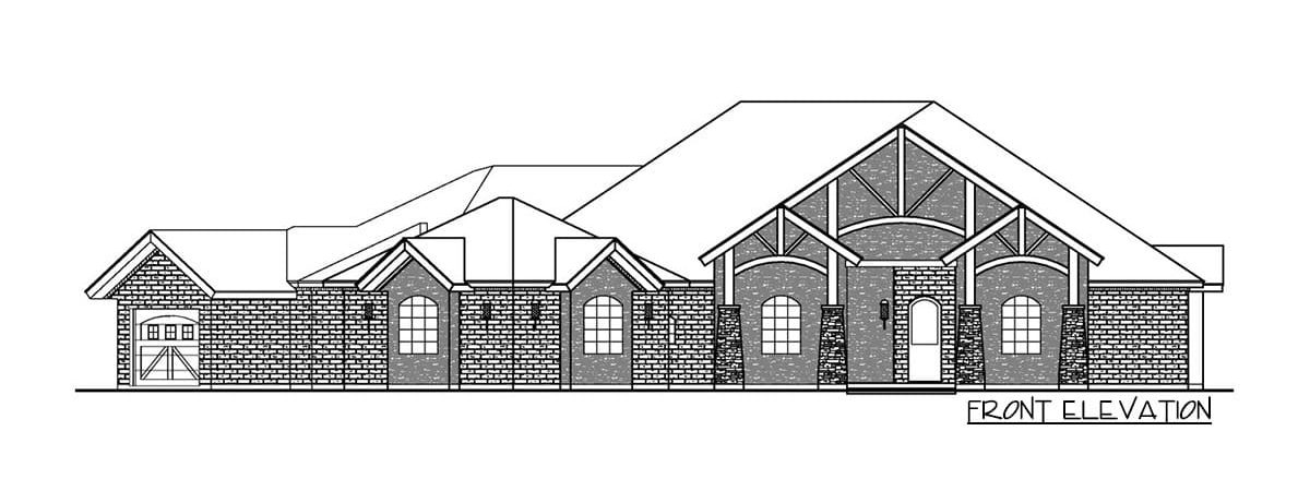 Front elevation sketch of the single-story 3-bedroom multi-generational hill country home.