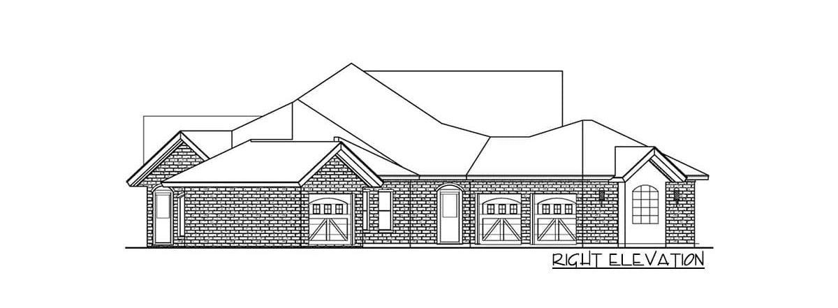 Right elevation sketch of the single-story 3-bedroom multi-generational hill country home.