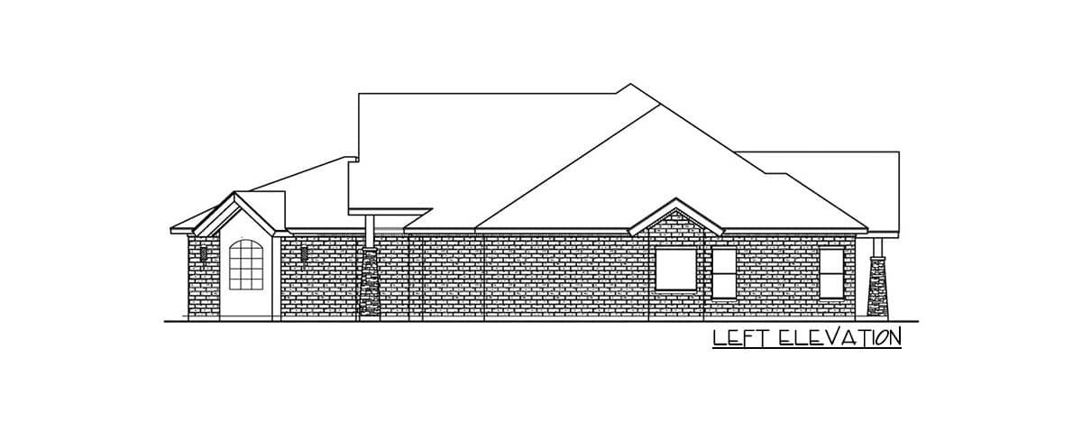 Left elevation sketch of the single-story 3-bedroom multi-generational hill country home.