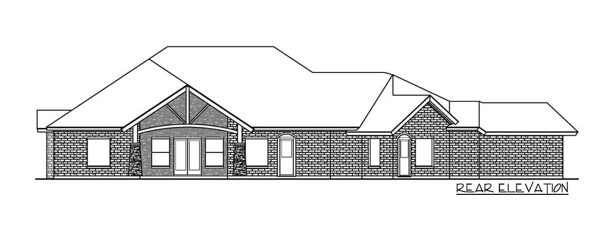 Rear elevation sketch of the single-story 3-bedroom multi-generational hill country home.