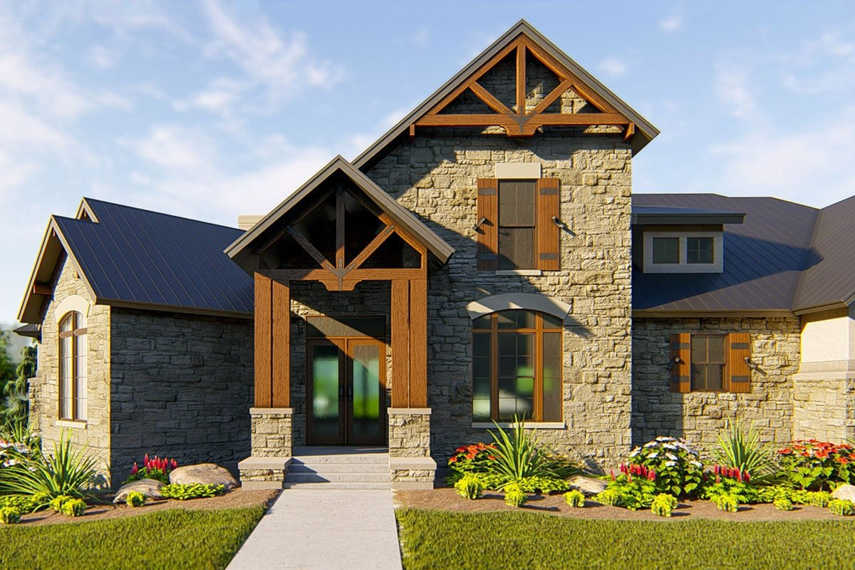 A close-up look at the home entry showing the rustic beams and stone accents.