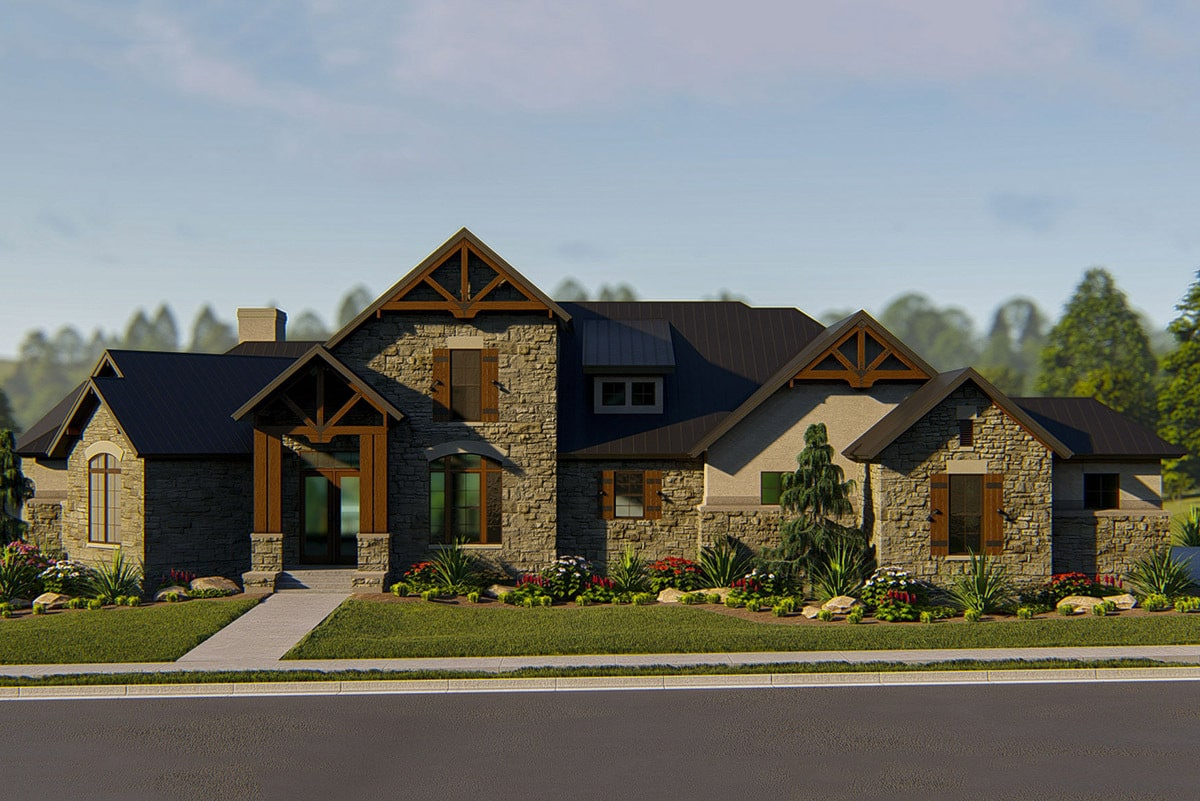 Front rendering of the single-story 4-bedroom hill country home.