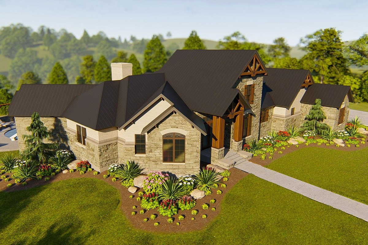 Front-left rendering of the single-story 4-bedroom hill country home.