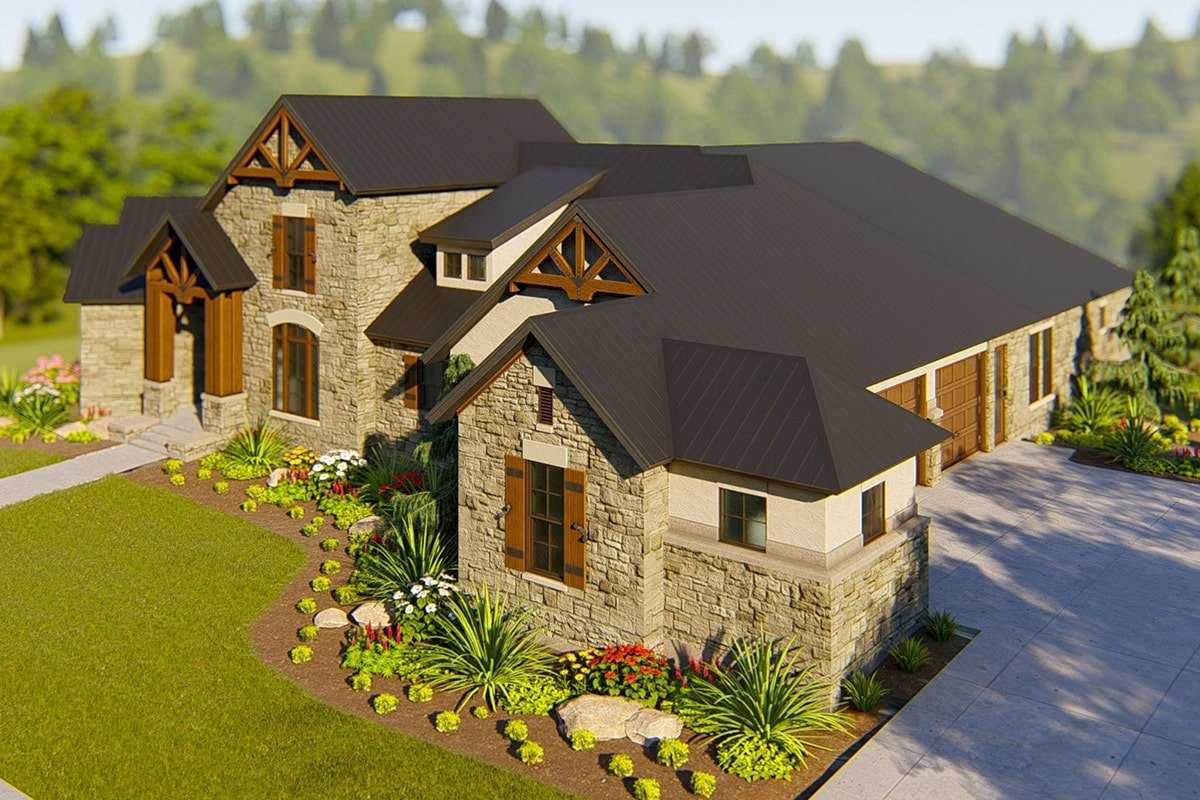 Front-right rendering of the single-story 4-bedroom hill country home.