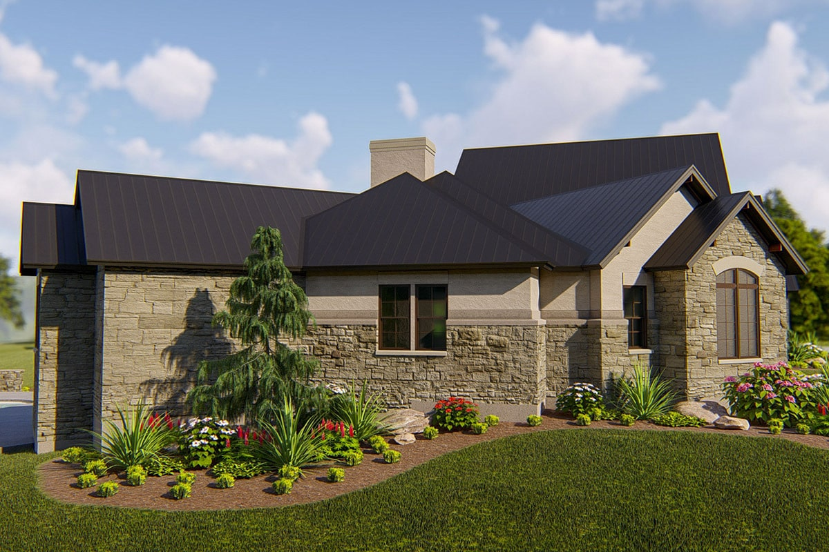 Left rendering of the single-story 4-bedroom hill country home.