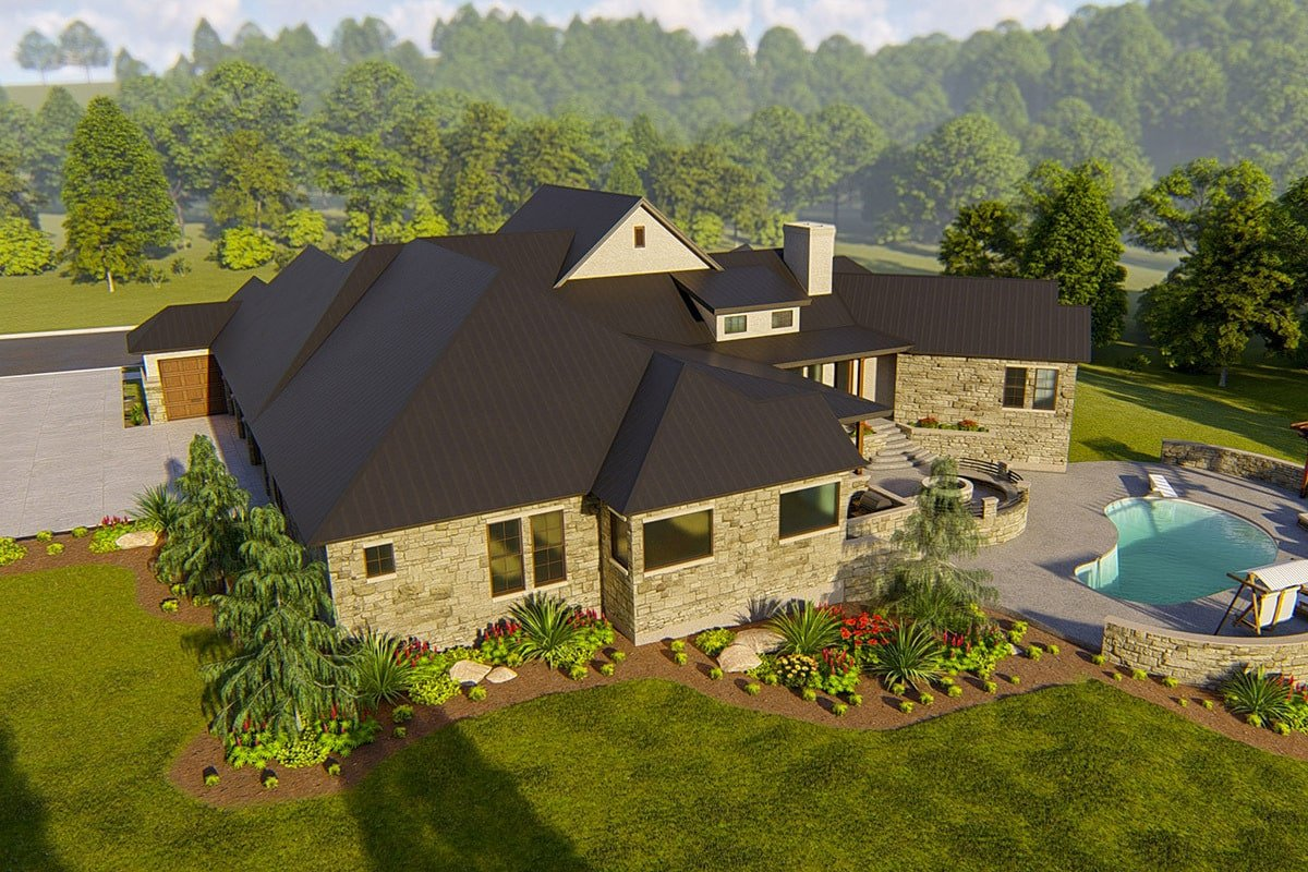 Rear-left rendering of the single-story 4-bedroom hill country home.