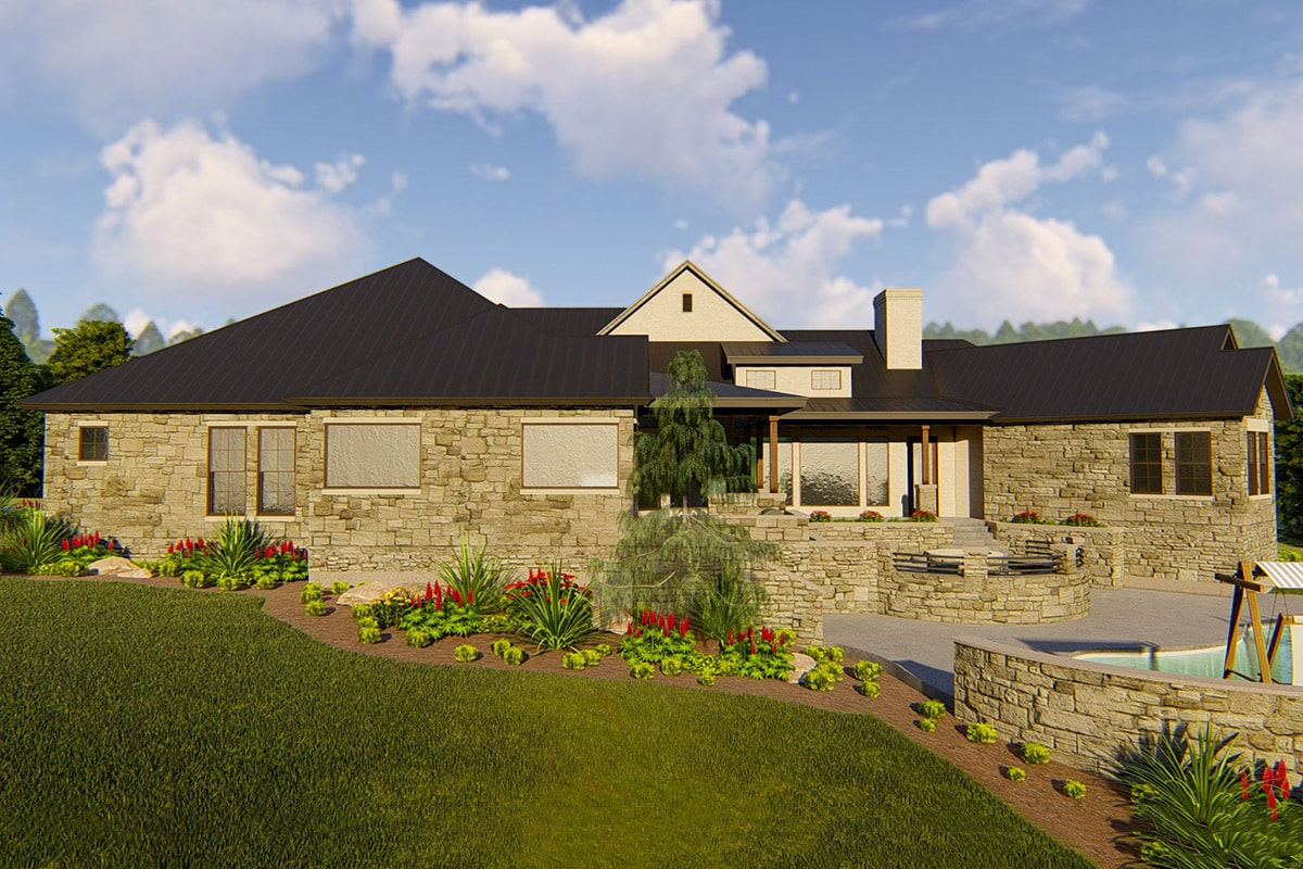 Rear rendering of the single-story 4-bedroom hill country home.