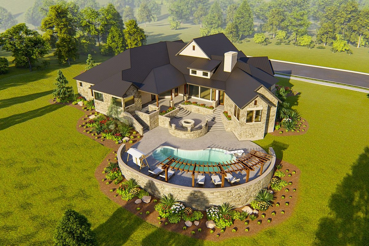 Aerial rendering of the single-story 4-bedroom hill country home.