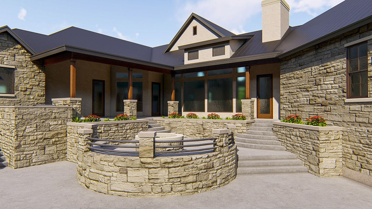Concrete stoops complement the covered porch that's bordered by tapered columns.