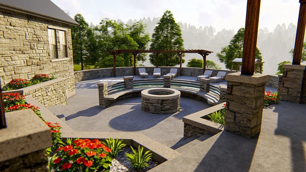 A fire pit seating adds a special touch to the outdoor entertaining.