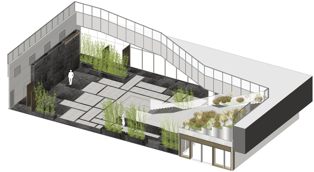 This is an illustration of the sunken garden entryway design.