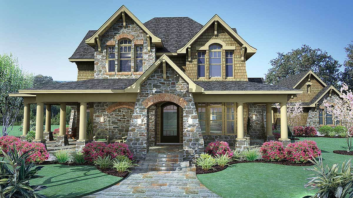 Two-Story 3-Bedroom Cedar & Stone Cottage with Wraparound Porch and Detached Garage