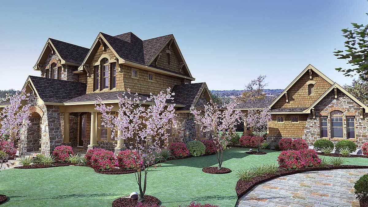 Front-right rendering of the two-story 3-bedroom cedar and stone cottage.