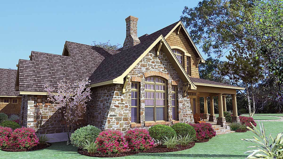 Left rendering of the two-story 3-bedroom cedar and stone cottage.