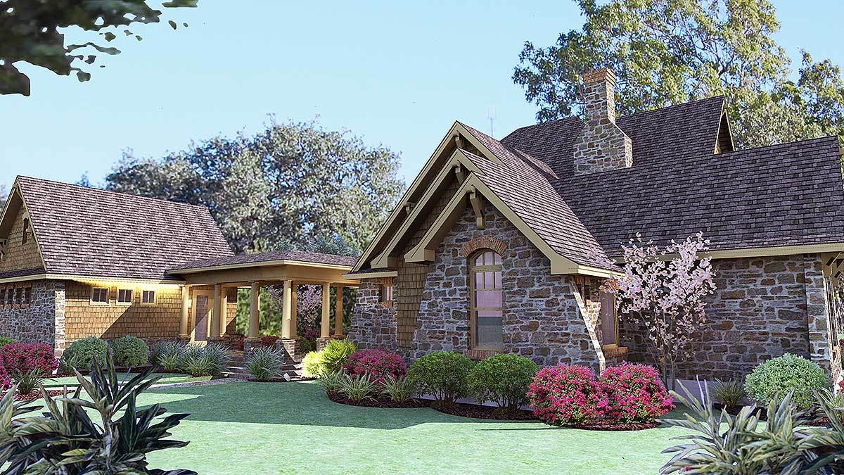 Rear-left rendering of the two-story 3-bedroom cedar and stone cottage.