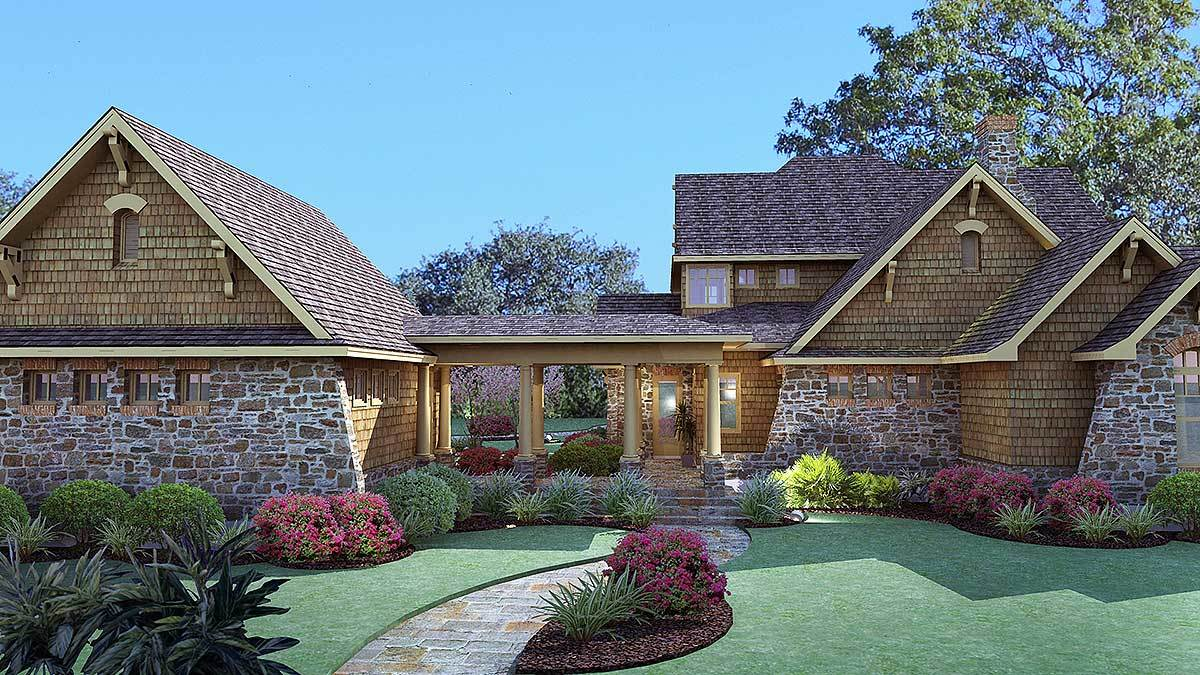 Rear rendering of the two-story 3-bedroom cedar and stone cottage.
