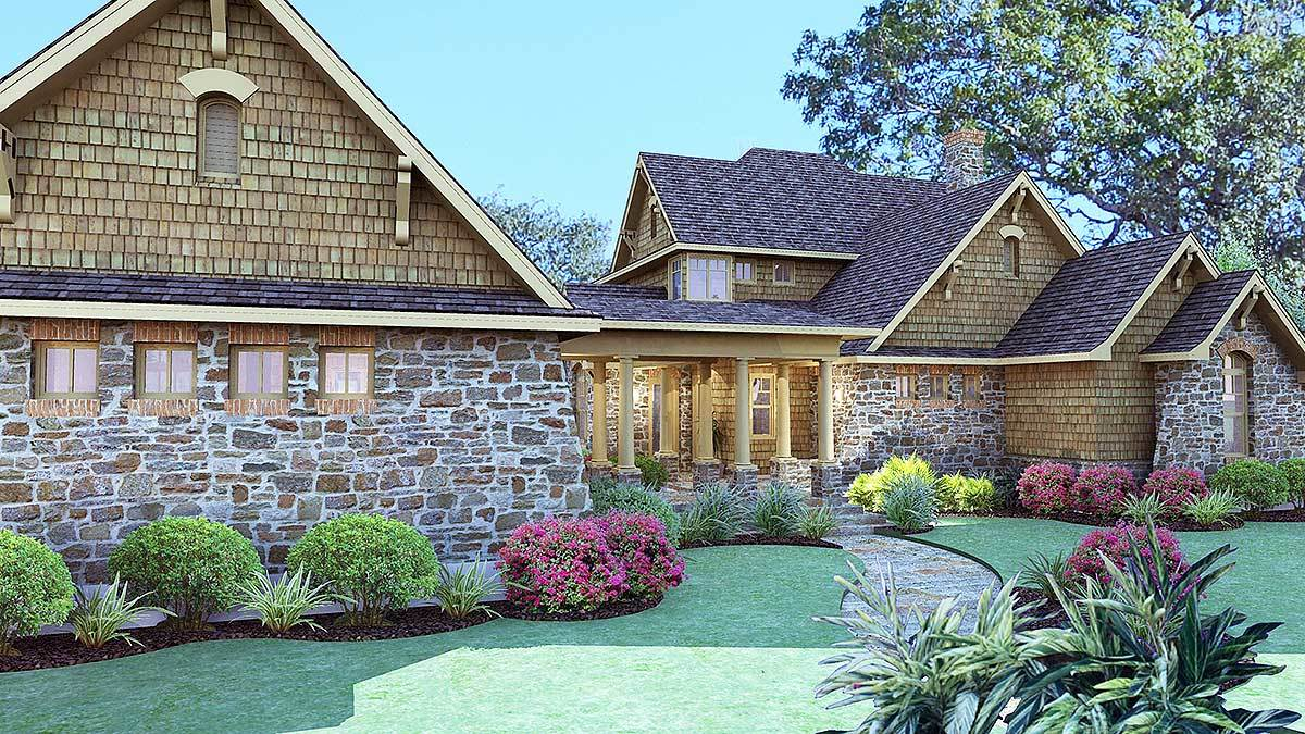 Rear-right rendering of the two-story 3-bedroom cedar and stone cottage.