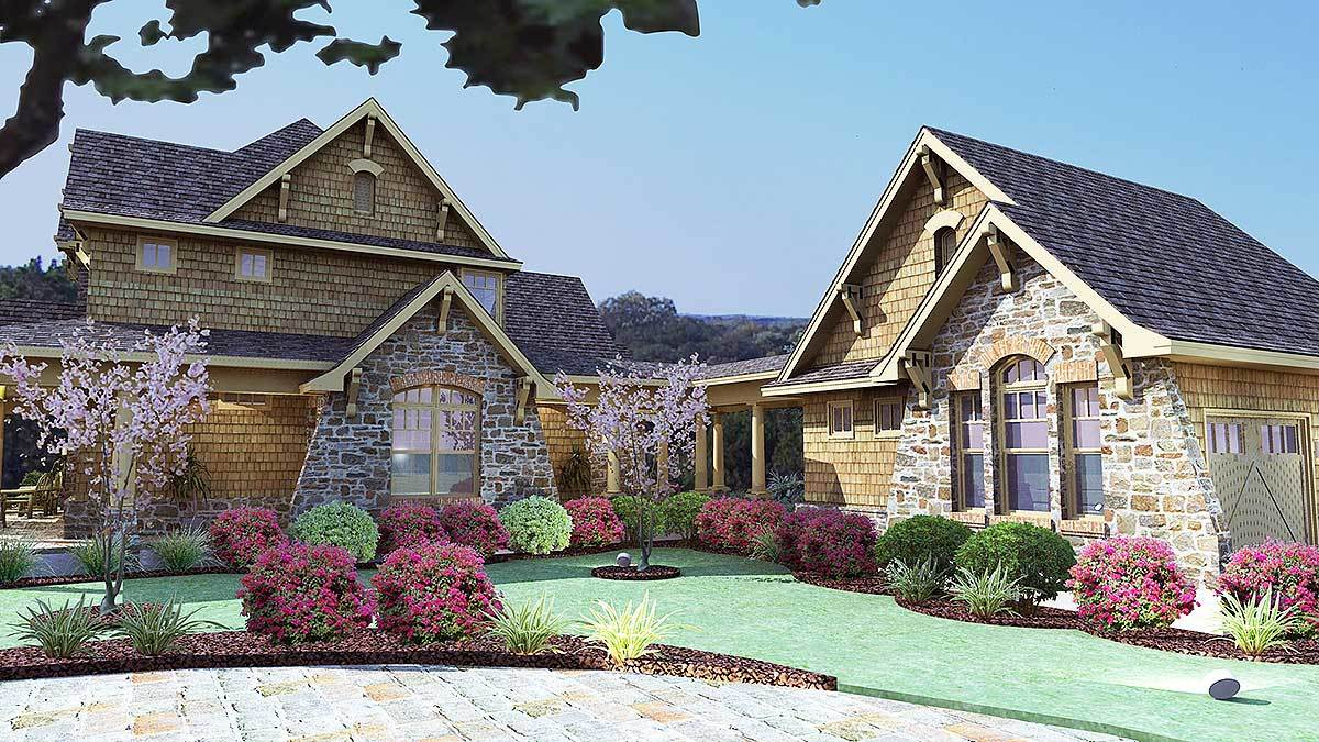 Right rendering of the two-story 3-bedroom cedar and stone cottage.