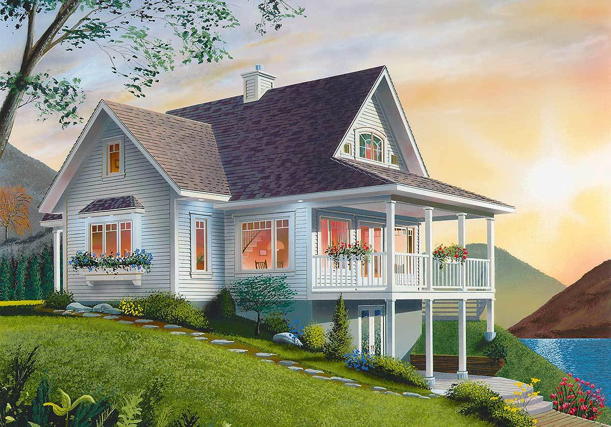 Rear rendering of the two-story 3-bedroom country cottage.