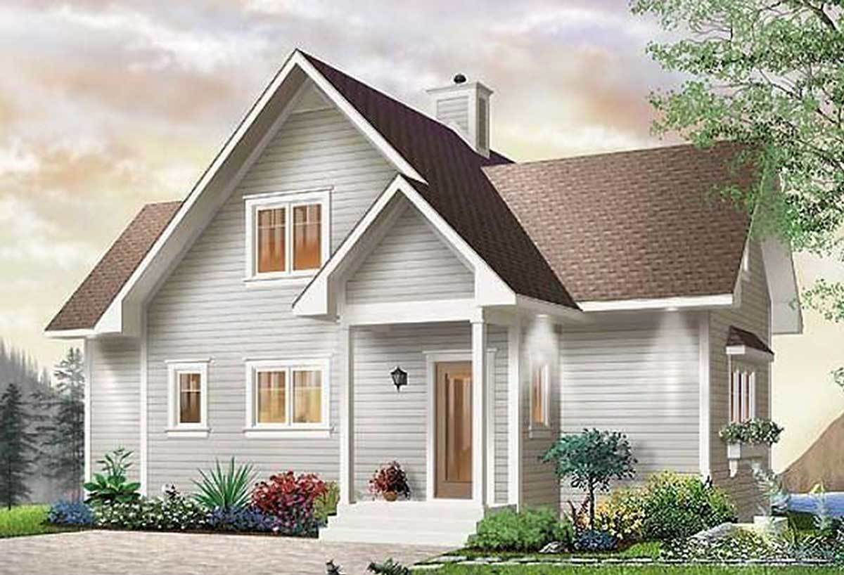 Front rendering of the two-story 3-bedroom country cottage.