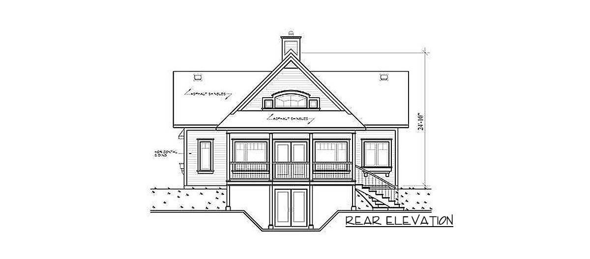 Rear elevation sketch of the two-story 3-bedroom country cottage.