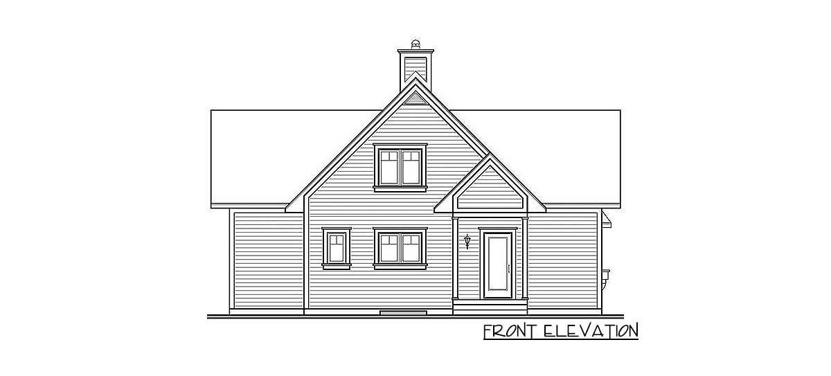 Front elevation sketch of the two-story 3-bedroom country cottage.