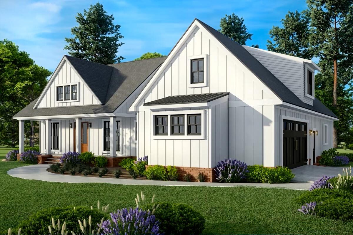 Front rendering of the two-story 3-bedroom modern farmhouse.