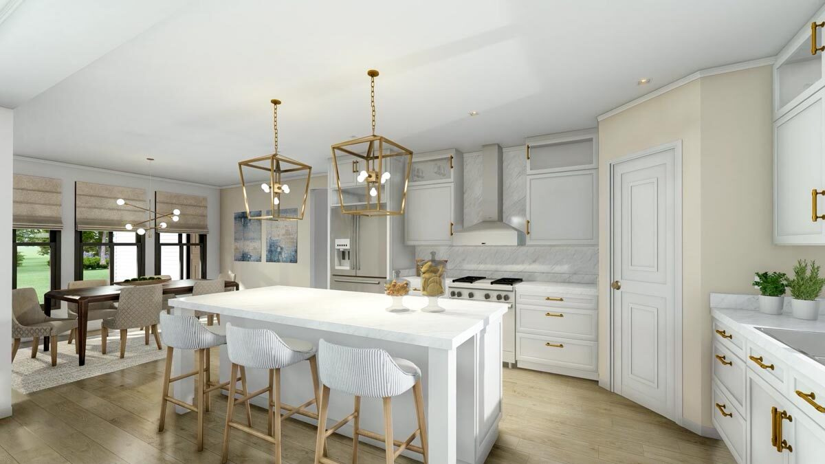 The eat-in kitchen is equipped with marble countertops, slate appliances, white cabinetry, a breakfast island, and a corner pantry.