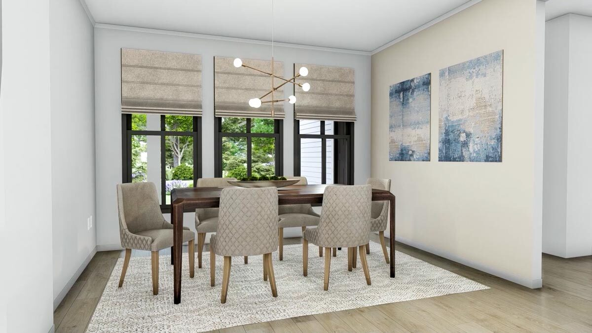 The dining room offers a wooden dining table and beige upholstered chairs sitting on a large area rug.