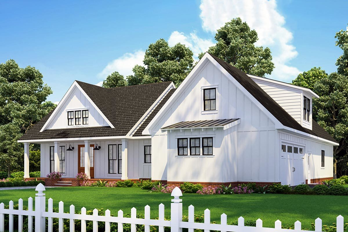 Front-right perspective sketch of the two-story 3-bedroom modern farmhouse.