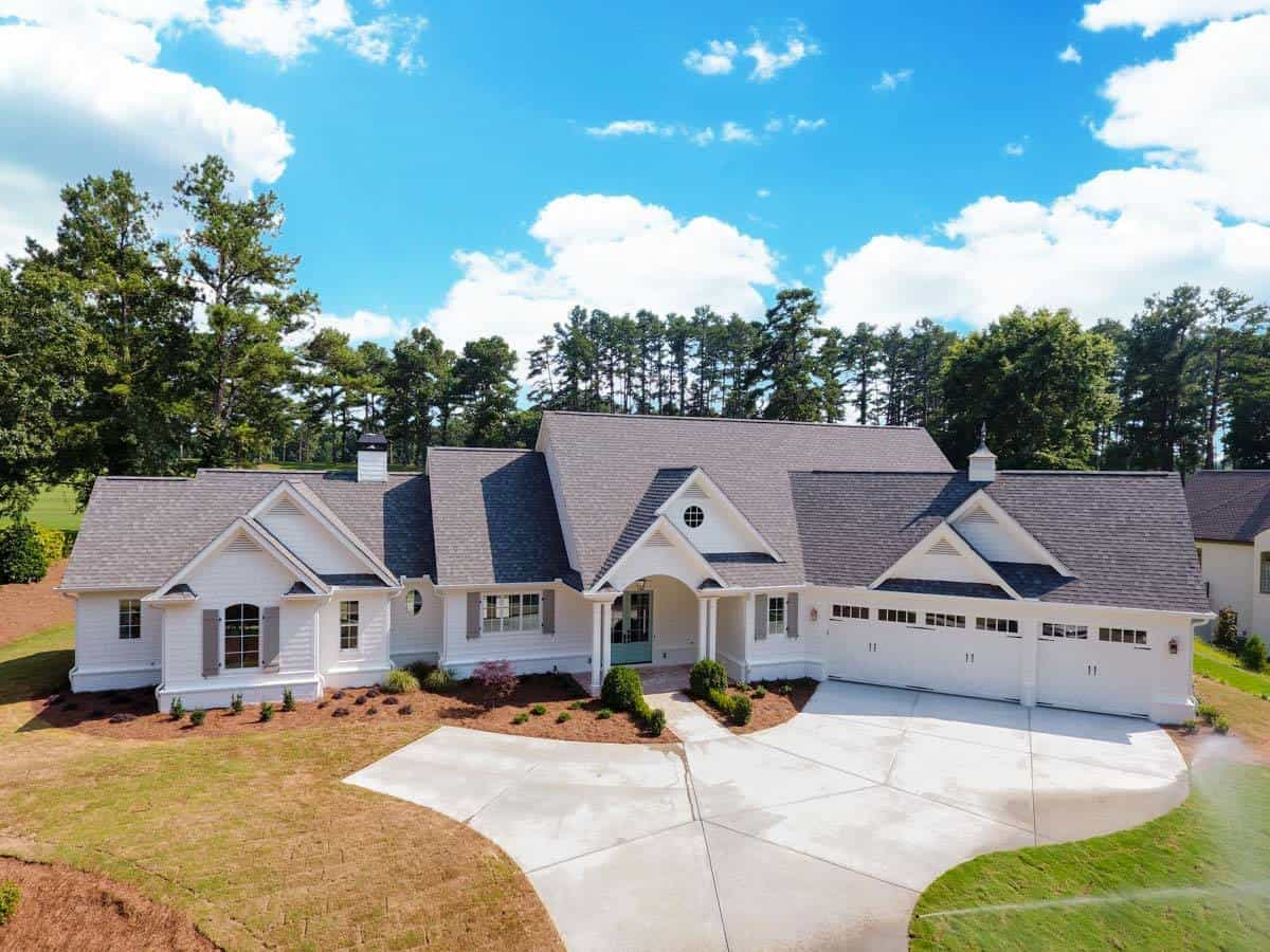 Two-Story 4-Bedroom Country Craftsman for a Wide Lot with Angled Garage