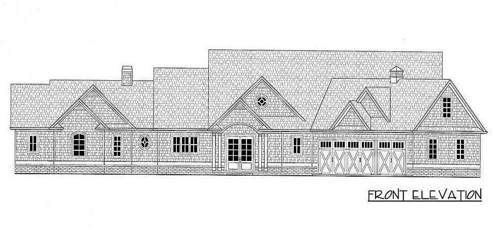 Front elevation sketch of the two-story 4-bedroom country craftsman.