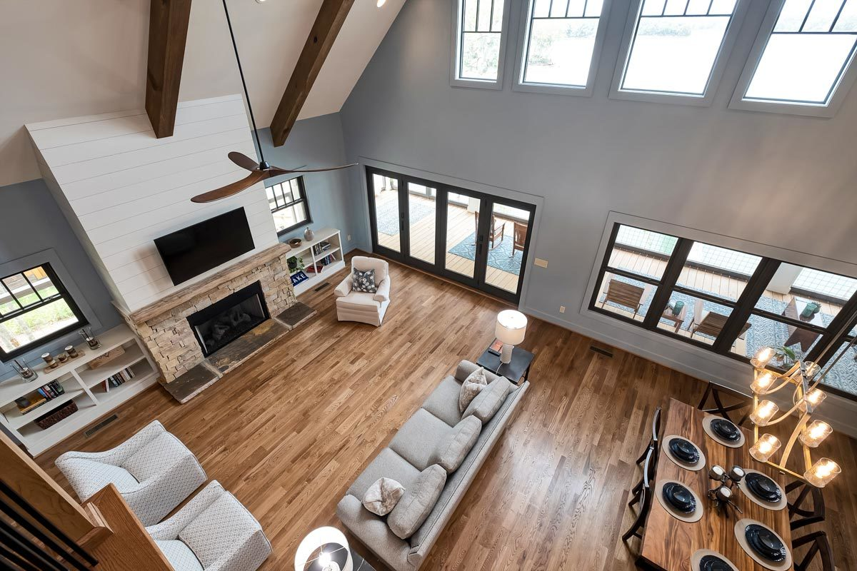 View of the living room from the balcony loft.