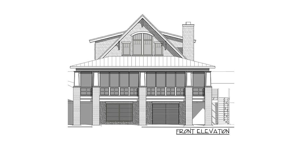 Front elevation sketch of the two-story 4-bedroom craftsman style exclusive vacation home.
