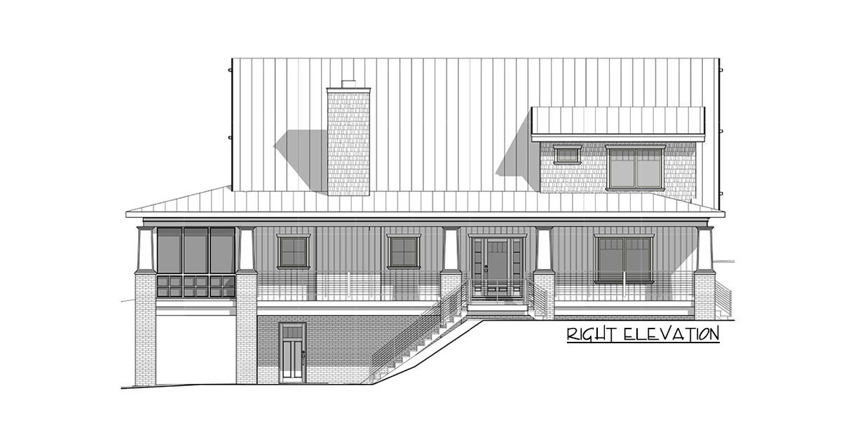 Right elevation sketch of the two-story 4-bedroom craftsman style exclusive vacation home.