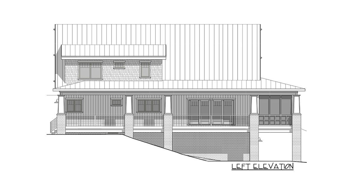 Left elevation sketch of the two-story 4-bedroom craftsman style exclusive vacation home.