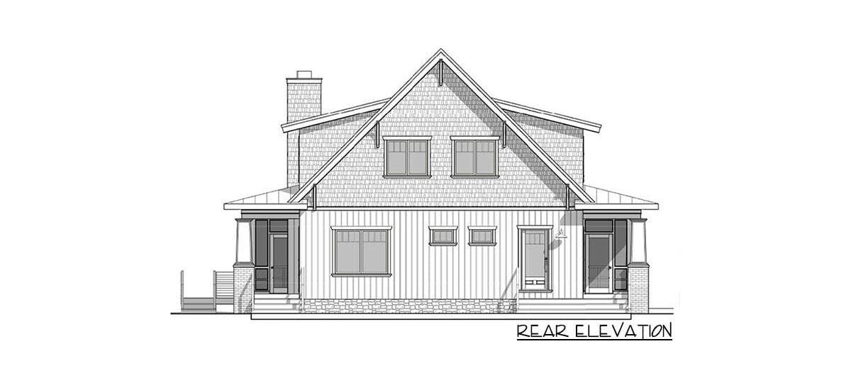 Rear elevation sketch of the two-story 4-bedroom craftsman style exclusive vacation home.
